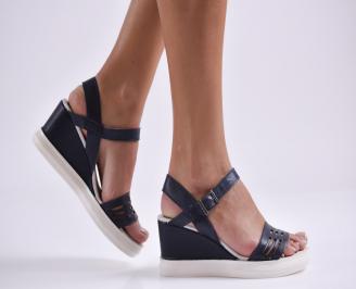Дамски сандали на платформа тъмно сини естествена кожа GPWV-24053