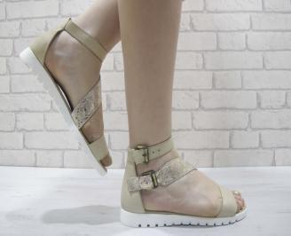 Дамски сандали на платформа бежово/златно естествена кожа WOBD-24054