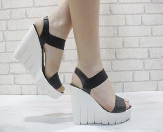 Дамски сандали на платформа черни естествена кожа LONG-24056