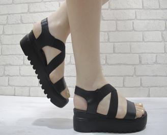 Дамски сандали на платформа черни естествена кожа CXMB-24058