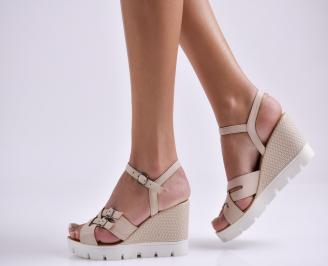Дамски сандали на платформа бежови естествена кожа PBBC-24087