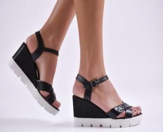 Дамски сандали на платформа черни естествена кожа QGQE-24088