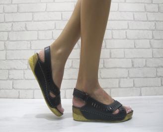 Дамски сандали на платформа еко кожа черни HZIK-24091
