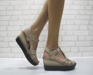 Дамски сандали на платформа еко кожа бежови ADYL-24103