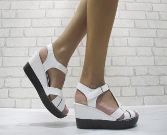 Дамски сандали на платформа еко кожа бели FJEQ-24104