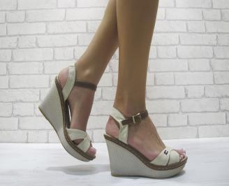 Дамски сандали на платформа текстил бежови GLNA-24107