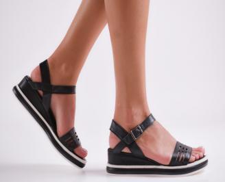 Дамски сандали на платформа черни естествена кожа RBYH-24124