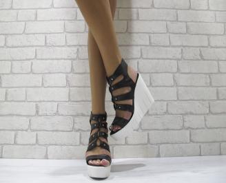 Дамски сандали на платформа черни естествена кожа JHQD-24125