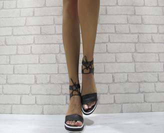 Дамски сандали на платформа черни естествена кожа MFEW-24126