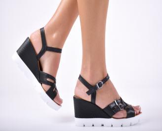 Дамски сандали на платформа черни естествена кожа DUPK-24132