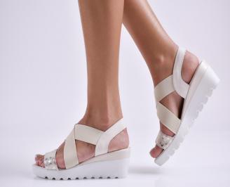 Дамски сандали на платформа бежови естествена кожа ROED-24134