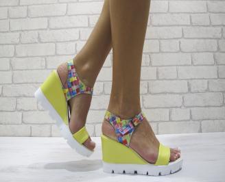 Дамски сандали на платформа еко кожа/текстил жълти DUMX-24158