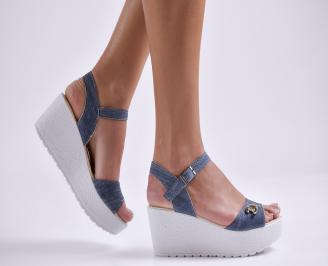 Дамски сандали на платформа текстил сини HRUP-24166