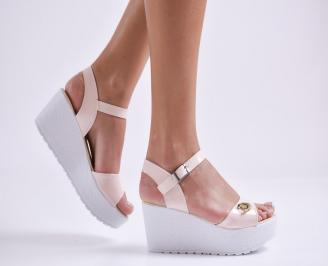 Дамски сандали на платформа еко лак розови BJFW-24168