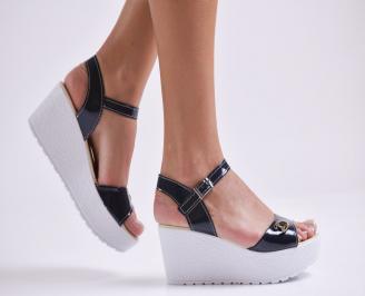 Дамски сандали на платформа еко лак тъмно сини SRVA-24172