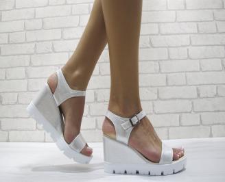 Дамски сандали на платформа еко кожа сребристи MJXX-24173