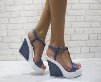 Дамски сандали на платформа еко кожа сини UKPO-24182