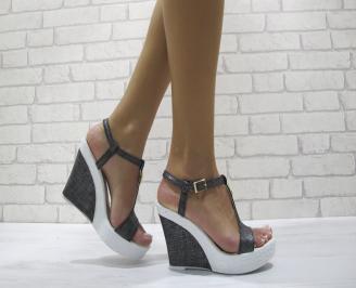 Дамски сандали на платформа еко кожа сини QVSV-24183