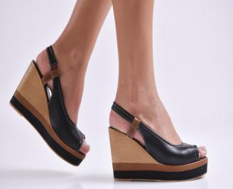 Дамски сандали на платформа еко кожа черни HLTN-24195