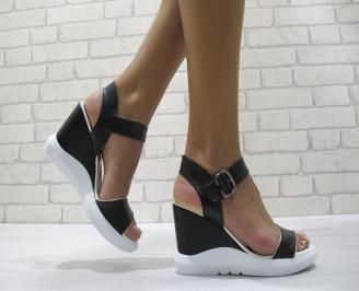 Дамски сандали на платформа еко кожа черни LLKF-24211