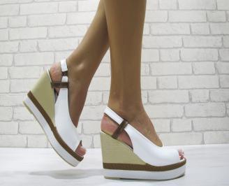 Дамски сандали на платформа еко кожа бели BETZ-24215