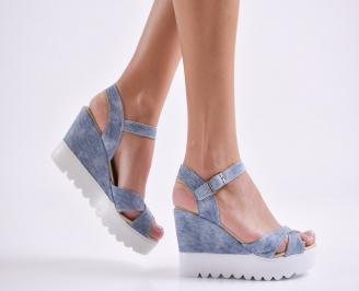 Дамски сандали на платформа еко кожа сини QOUR-24235