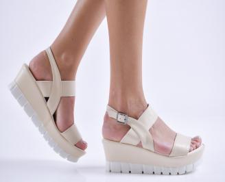 Дамски сандали на платформа еко кожа бежови MLIN-24239