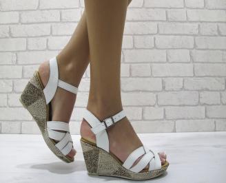 Дамски сандали на платформа естествена кожа бели ACTQ-24244