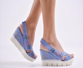 Дамски сандали на платформа текстил сини GJEY-24246