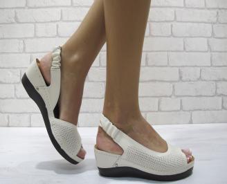 Дамски сандали на платформа естествена кожа бежови YNEG-24250