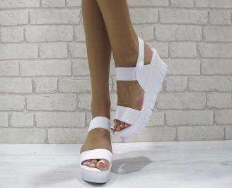 Дамски сандали на платформа еко кожа бели SHBV-24252