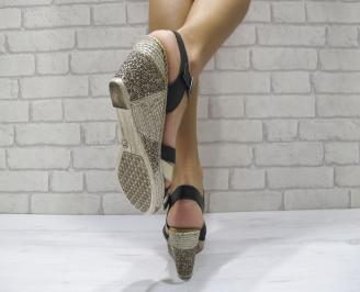 Дамски сандали на платформа естествена кожа черно/бежово NXLR-24259