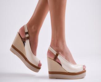 Дамски сандали на платформа еко кожа бежови TQUF-24263