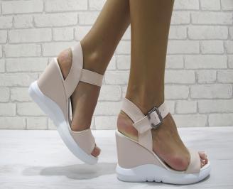 Дамски сандали на платформа еко кожа розови ASZF-24267