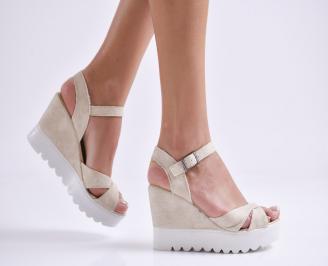 Дамски сандали на платформа еко кожа бежови UKRQ-24271