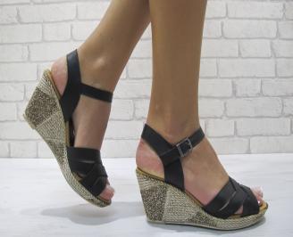 Дамски сандали на платформа естествена кожа черни LNFQ-24277