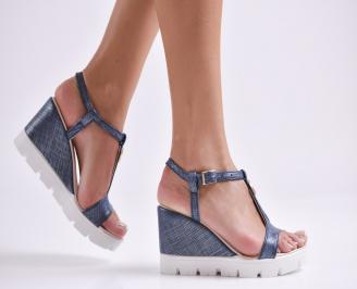 Дамски сандали на платформа еко кожа сини FZPW-24373
