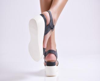 Дамски сандали на платформа еко кожа  черни RDOE-24375