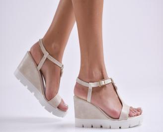 Дамски сандали на платформа еко кожа бежови HENO-24376