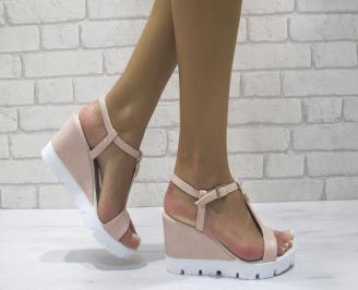 Дамски сандали на платформа еко кожа пудра IMGA-24380