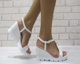 Дамски сандали на платформа еко кожа сребристи NDYW-24391