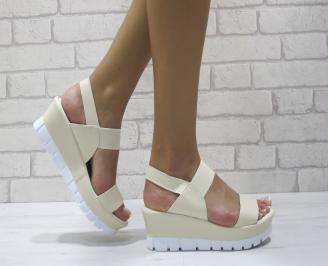 Дамски сандали на платформа еко кожа бежови TFRZ-24392