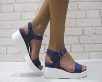 Дамски сандали на платформа еко кожа сини QJQY-24393