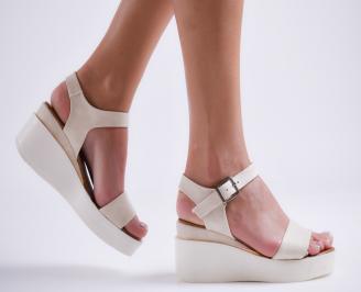 Дамски сандали на платформа еко кожа бежови SYDF-24395