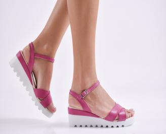 Дамски сандали на платформа еко кожа светло лилави SBBC-24397