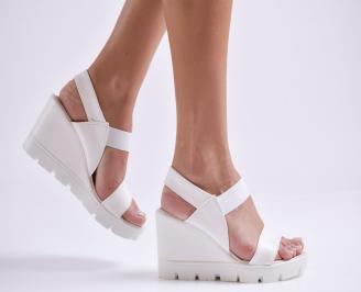Дамски сандали на платформа еко кожа бели YHJI-24402
