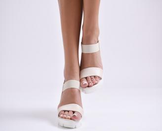 Дамски сандали на платформа еко кожа бежови AJPO-24405