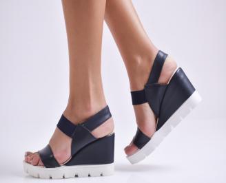 Дамски сандали на платформа еко кожа тъмно сини WUAN-24406
