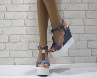 Дамски сандали на платформа еко кожа сини YUGZ-24415
