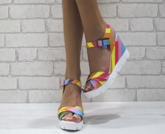 Дамски сандали на платформа еко кожа шарени EOJP-24417